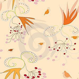 Seamless Pattern With Arrowwood Berry And Bird Stock Images - Image: 14272904