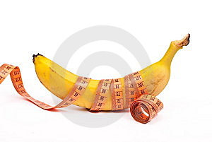 Banana With A Measuring Tape Stock Photography - Image: 14273322