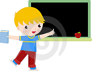 School Boy Writing On Blackboard Royalty Free Stock Image - Image: 14274456