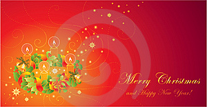 Christmas Greeting Card With Wreath And Ca Royalty Free Stock Images - Image: 14278679