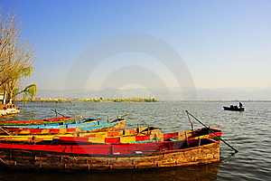 Wooden Boat In Lake Stock Photos - Image: 14279043