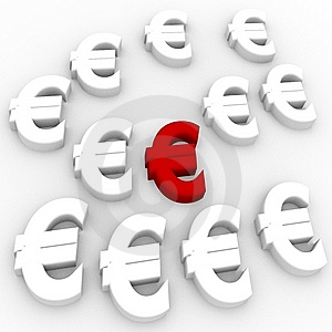 Euro Currency In Red Stock Photo - Image: 14281410