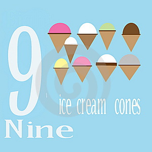 Nine Ice Cream Cones Stock Images - Image: 14281934