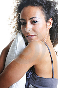 Woman With Pillow Royalty Free Stock Images - Image: 14282369