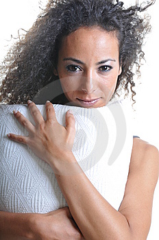 Woman With Pillow Stock Image - Image: 14282421