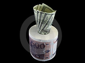 Toilet Paper EUR With USD Royalty Free Stock Photography - Image: 14283017