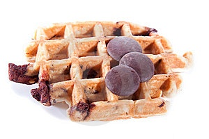 Waffles From Integral Wholegrain With Chocolate Royalty Free Stock Image - Image: 14285016