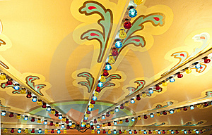 Colorful Lights On Carousel Ceiling Royalty Free Stock Photography - Image: 14285287