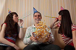 Three Friends Partying Stock Image - Image: 14285731
