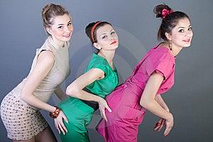 Three Happy Retro-styled Girls Royalty Free Stock Photo - Image: 14288585
