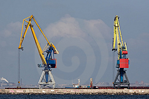 Two Huge Cranes At The Port Stock Photo - Image: 14289810