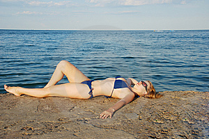 Sexy Girl On Sea Shore Royalty Free Stock Photography - Image: 14292177