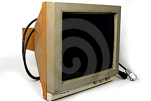 Old PC Hercules Monitor. Included Path For Screen. Royalty Free Stock Photos - Image: 14294558