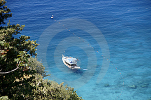 Yacht Standing On An Anchor. Stock Photo - Image: 14295060