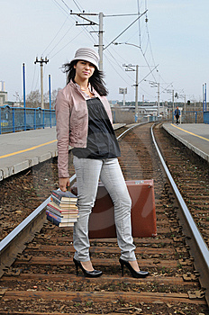 Girl At Station Stock Image - Image: 14295771