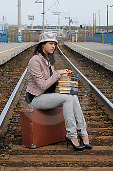 Girl At Station Royalty Free Stock Photos - Image: 14295798