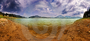 Lake Panorama In A Cloudy Day Royalty Free Stock Images - Image: 14295829