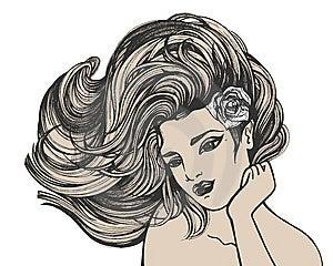 Desenho De Cabelos Compridos Da Mulher Imagens de Stock - Imagem: 14298944