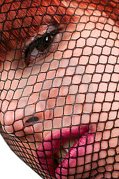 Woman Face Through The Gauze Stock Image - Image: 14299621