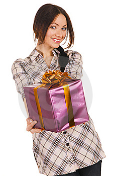 Beautiful Young Woman With A Gift Box Royalty Free Stock Photo - Image: 14302755
