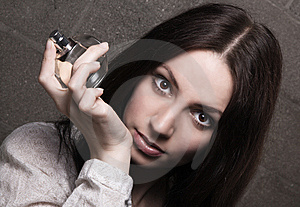 Beautiful Lady With A Bottle Of Perfume Royalty Free Stock Photo - Image: 14302795