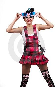 Girl Wearing Large Pink Eyeglasses Stock Photo - Image: 14302990
