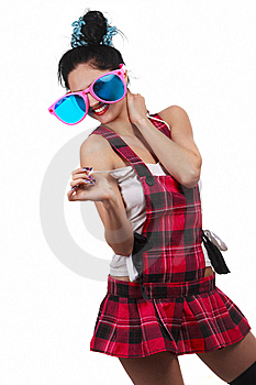 Girl Wearing Large Pink Eyeglasses Royalty Free Stock Photography - Image: 14303037