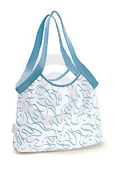 White And Blue Beach Bag Stock Photo - Image: 14305940