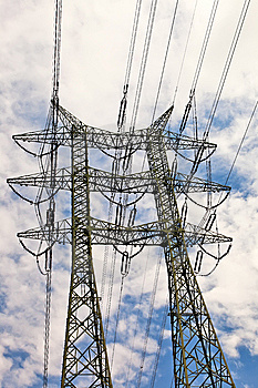 High Voltage Power Line Pole. Stock Photo - Image: 14308510