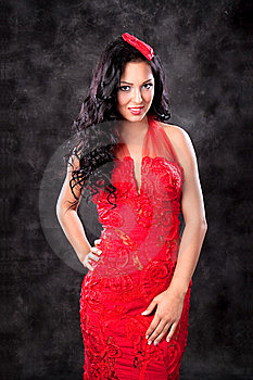 Beautiful Glamorous Woman With Red Dress Stock Image - Image: 14309421