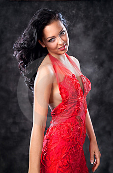 Beautiful Glamorous Woman With Red Dress Royalty Free Stock Photography - Image: 14309467