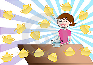 Illustration Background Of Girl With Cooker Stock Photo - Image: 14309940