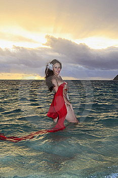 Forty Year Old Woman In The Ocean Stock Photo - Image: 14311590