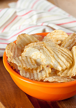 Potato Chips In Orange Bowl Stock Image - Image: 14314061