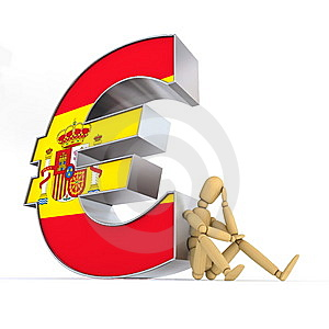 Doll Sitting At Spanish Euro Sign Royalty Free Stock Images - Image: 14314629