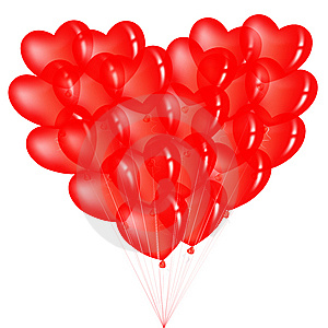 Bunch Of Red Heart Shape Balloons. Vector Royalty Free Stock Photos - Image: 14314878