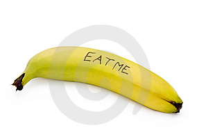 Eat Me Banana On White Stock Photography - Image: 14318882