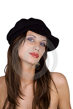 Fashion Model Wearing A Beret Royalty Free Stock Photography - Image: 14319147