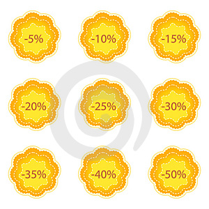 A Set Of Orange Discount Labels Royalty Free Stock Photo - Image: 14323905
