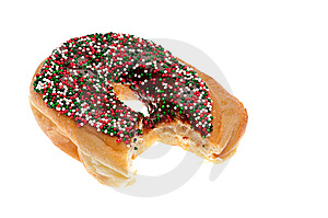 Donut With Chocolate Icing And Sprinkles Stock Photo - Image: 14325400