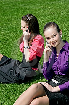 Businesswomen Calling By Phone Stock Image - Image: 14326291