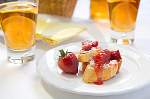 Crostini With Strawberry Rhubarb Compote Royalty Free Stock Photography - Image: 14329457