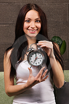 Beautiful Woman Holding Vintage Clock Stock Photography - Image: 14334812