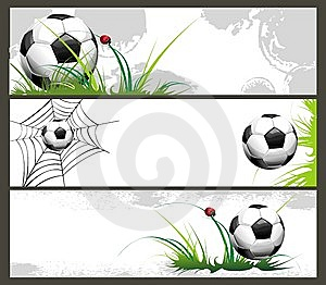 Football Banners With The Balls Royalty Free Stock Photo - Image: 14337965