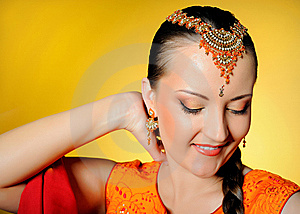 Beautiful Woman In Indian Traditional Style Stock Photo - Image: 14339910