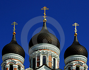 Domes Of The Alexander Nevsky Cathedral Royalty Free Stock Images - Image: 14340359