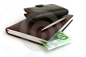 Banknote 100 Euro, Notebook, Purse Royalty Free Stock Photo - Image: 14340535