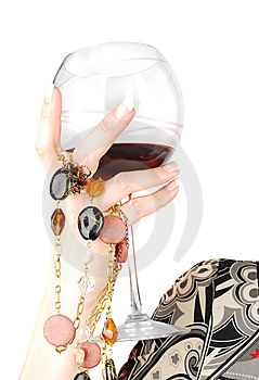 Woman Arm With Glass Of Wine. Stock Photography - Image: 14346642