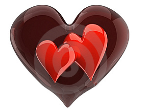 Two Glossy Hearts Inside Glass Heart Stock Photo - Image: 14349880
