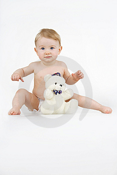 Girl With Teddy - Bear. Royalty Free Stock Image - Image: 14350146